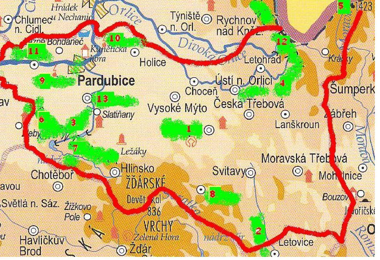 Dobře si prohlédni mapu pardubického kraje najdeš v ní červená